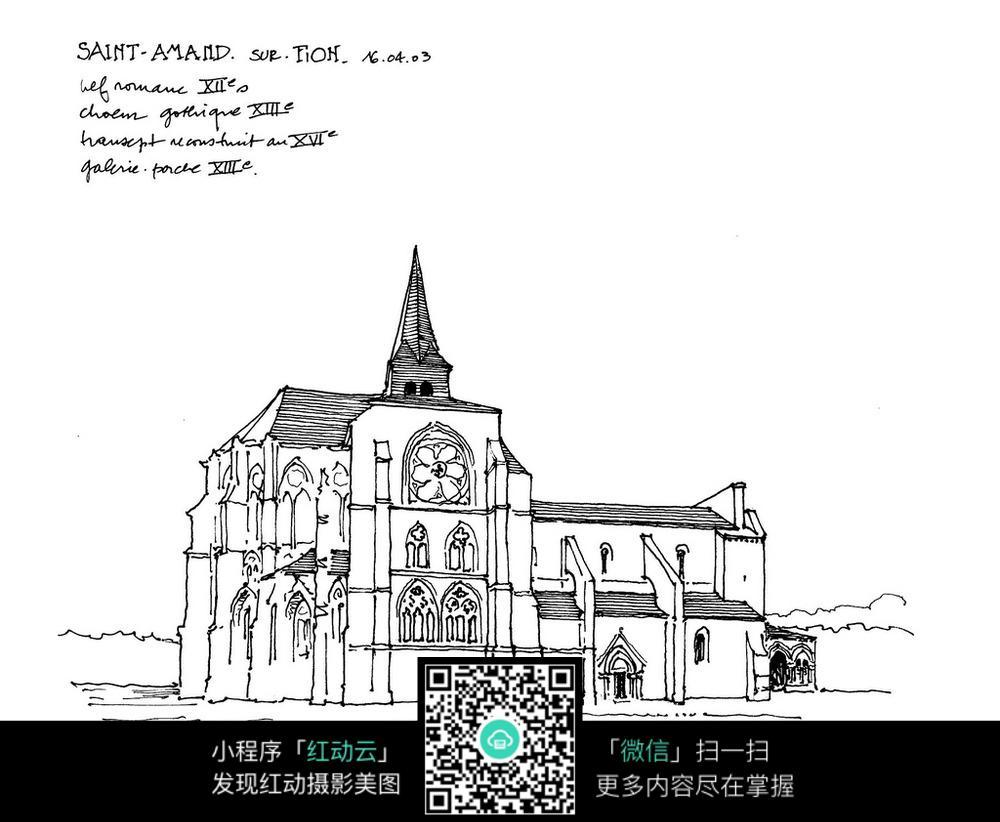 欧式钟楼建筑手绘线描画图片