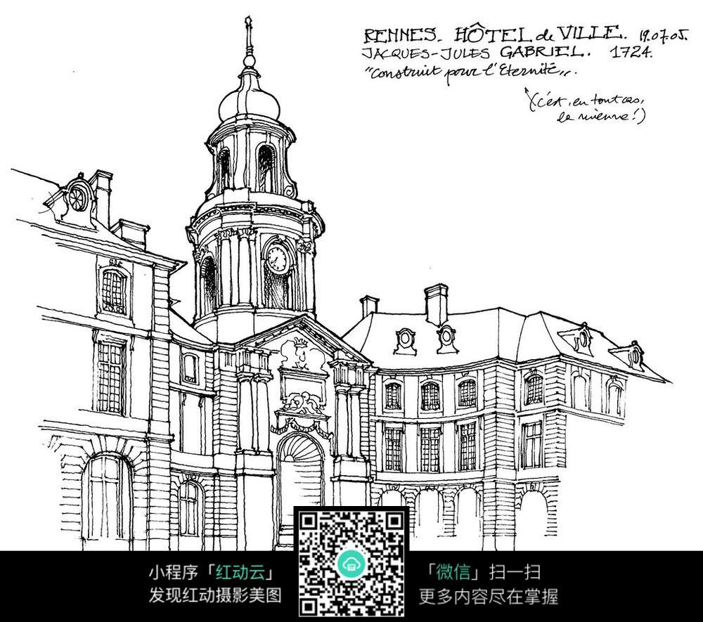 欧式钟楼建筑手绘线描图