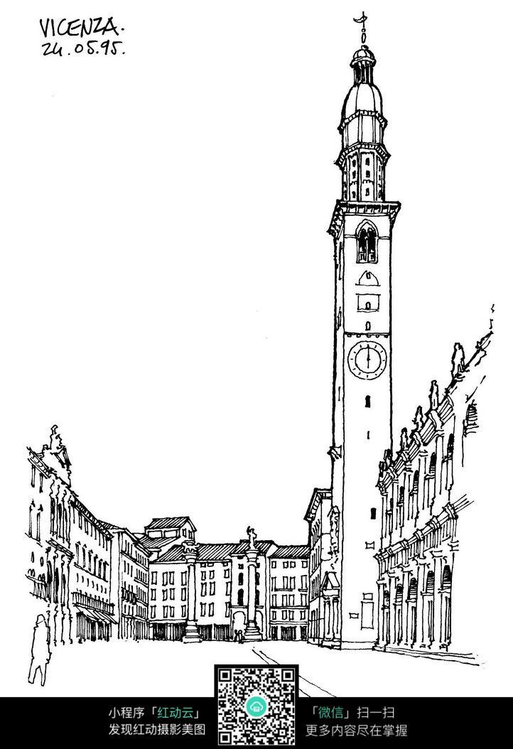 欧式钟塔建筑手绘线稿画