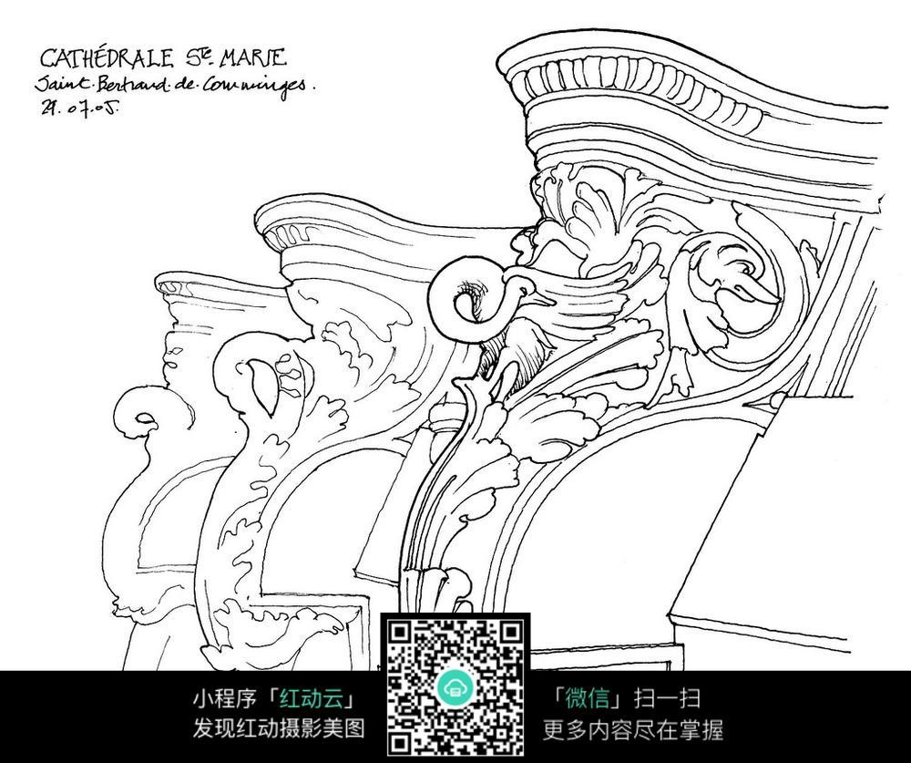 欧式柱墩图案手绘线描画_活动场景图片