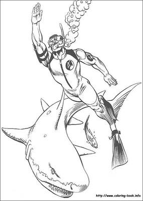 潜水冒险者手绘线描画