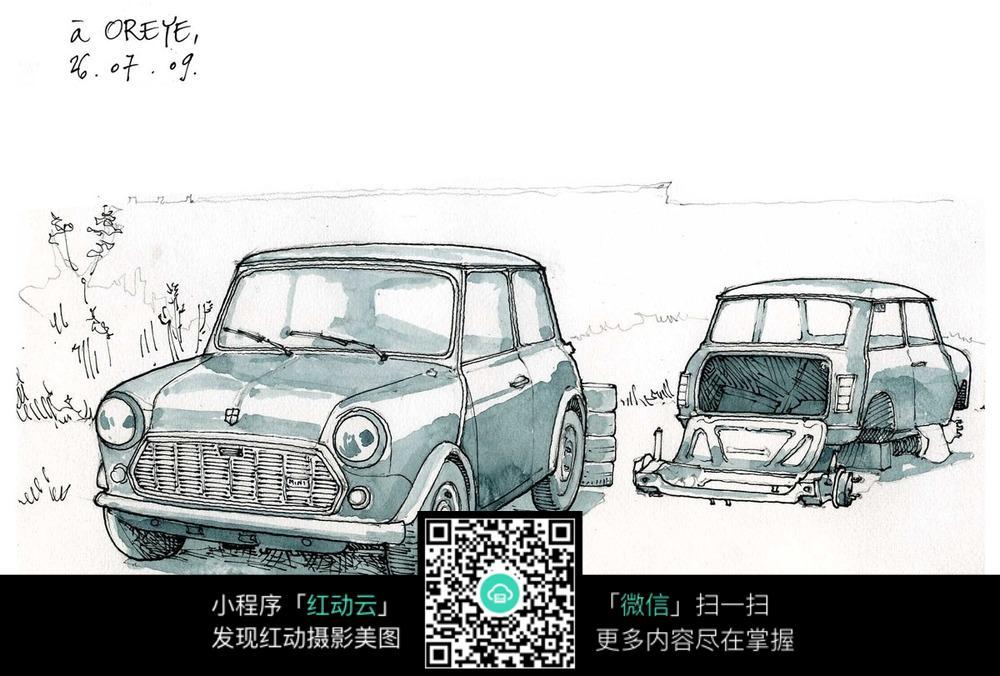 汽车手绘水彩线描图_活动场景图片
