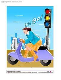 骑电动车的美女矢量素材图片