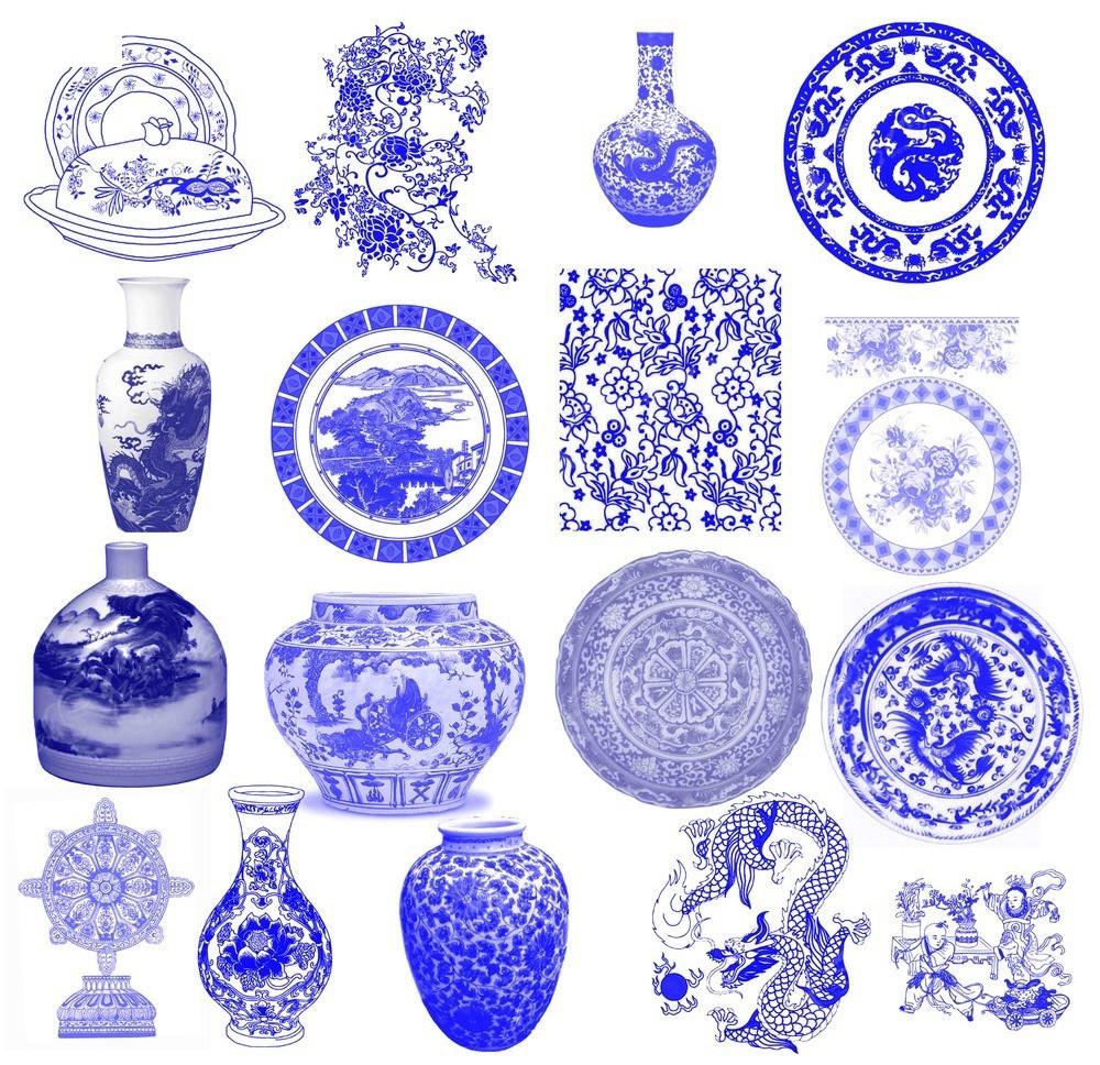 青花瓷纹饰盘子元素