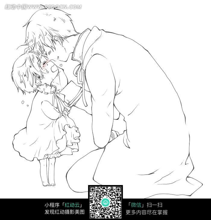 亲小女孩的美男手绘线描插画素材