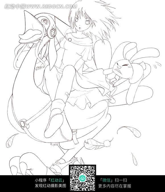 骑鸵鸟拿兔娃娃的美少女手绘线描插画素材