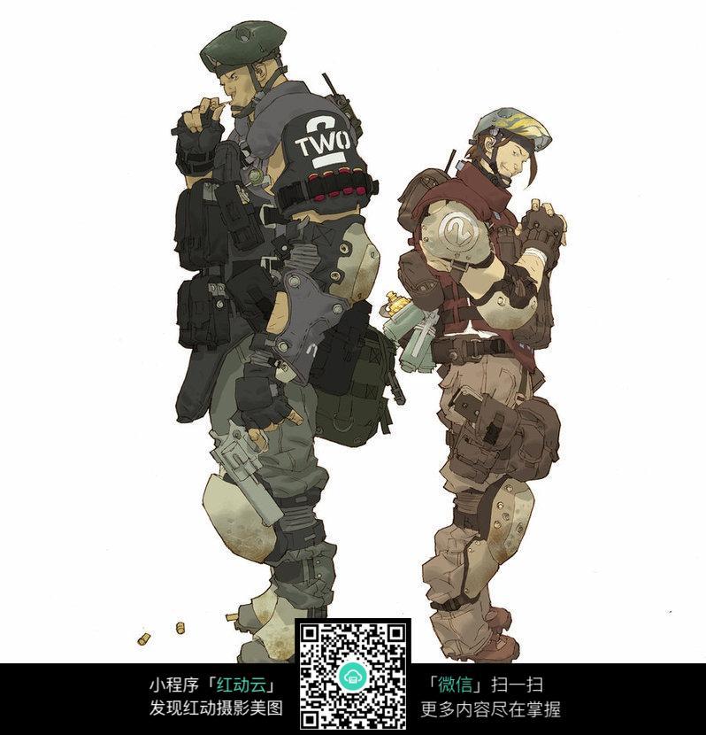 免费素材 图片素材 漫画插画 人物卡通 全副武装的士兵手绘线描填色稿