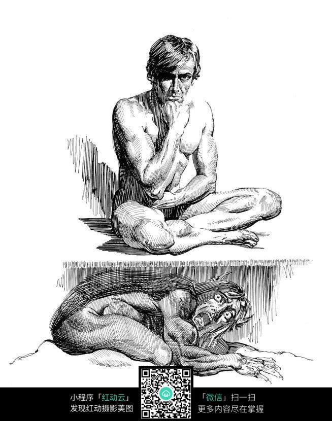 人面狮子兽手绘素描图