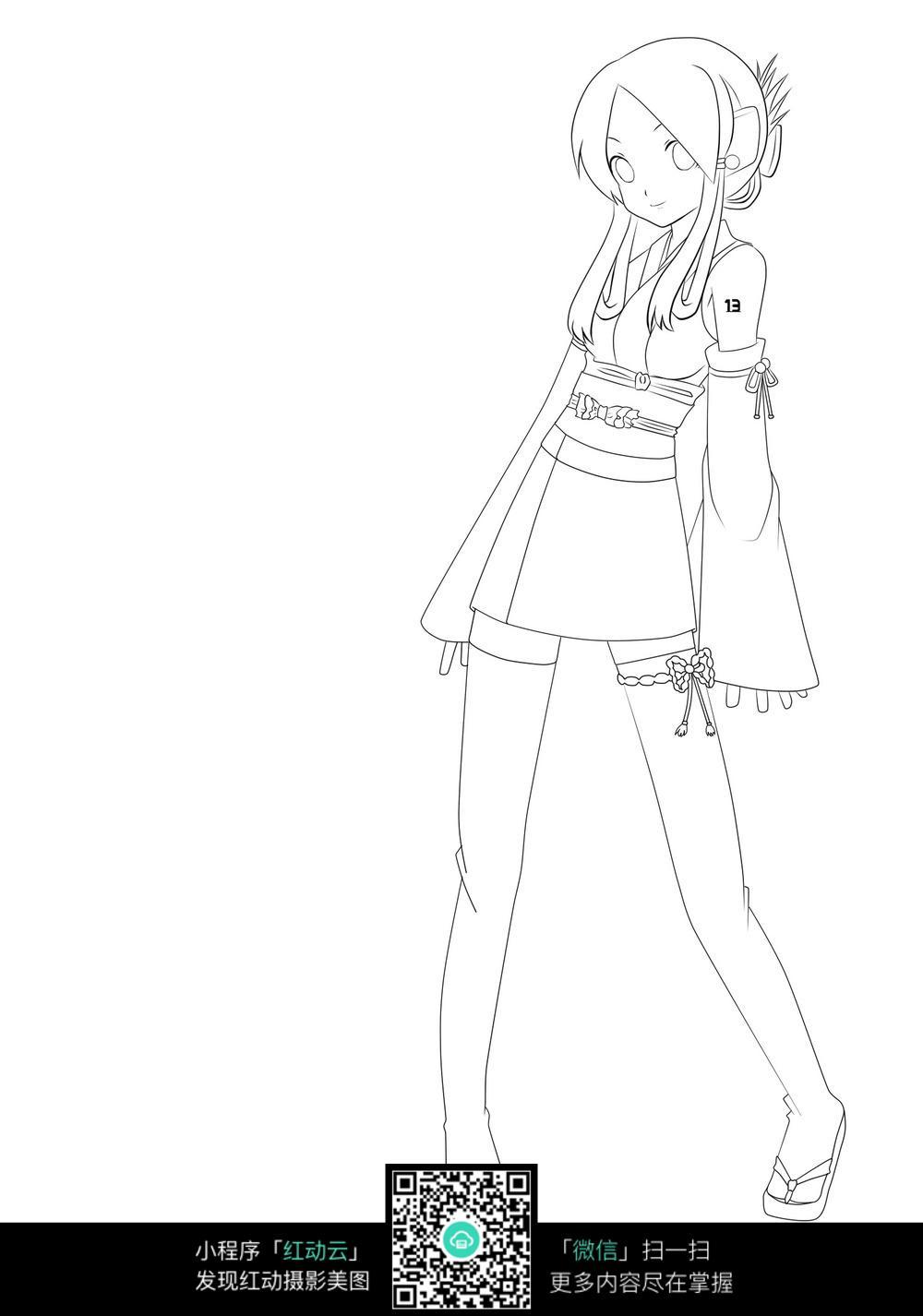免费素材 图片素材 漫画插画 人物卡通 日本动漫卡通女孩线描