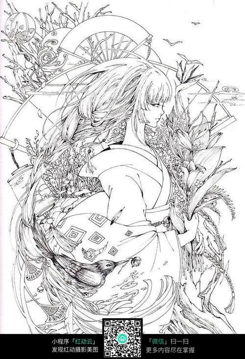 日本动漫人物女孩线描_人物卡通图片