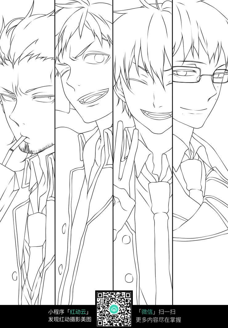 日本动漫游戏男孩人物表情线描