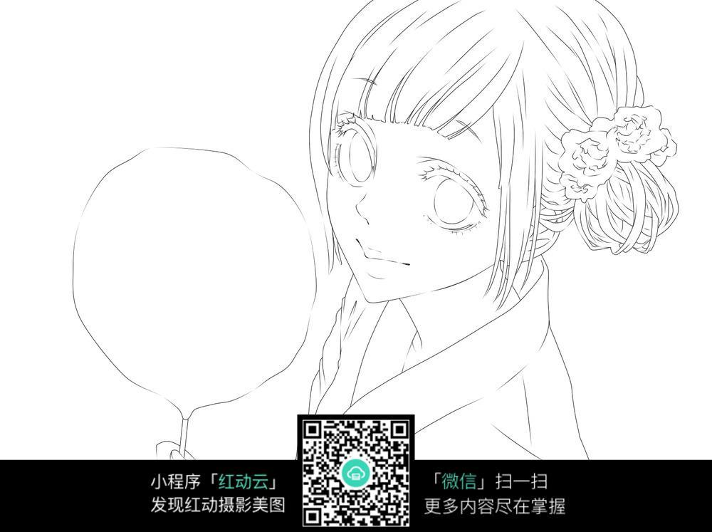 日本和服少女脸部手绘图