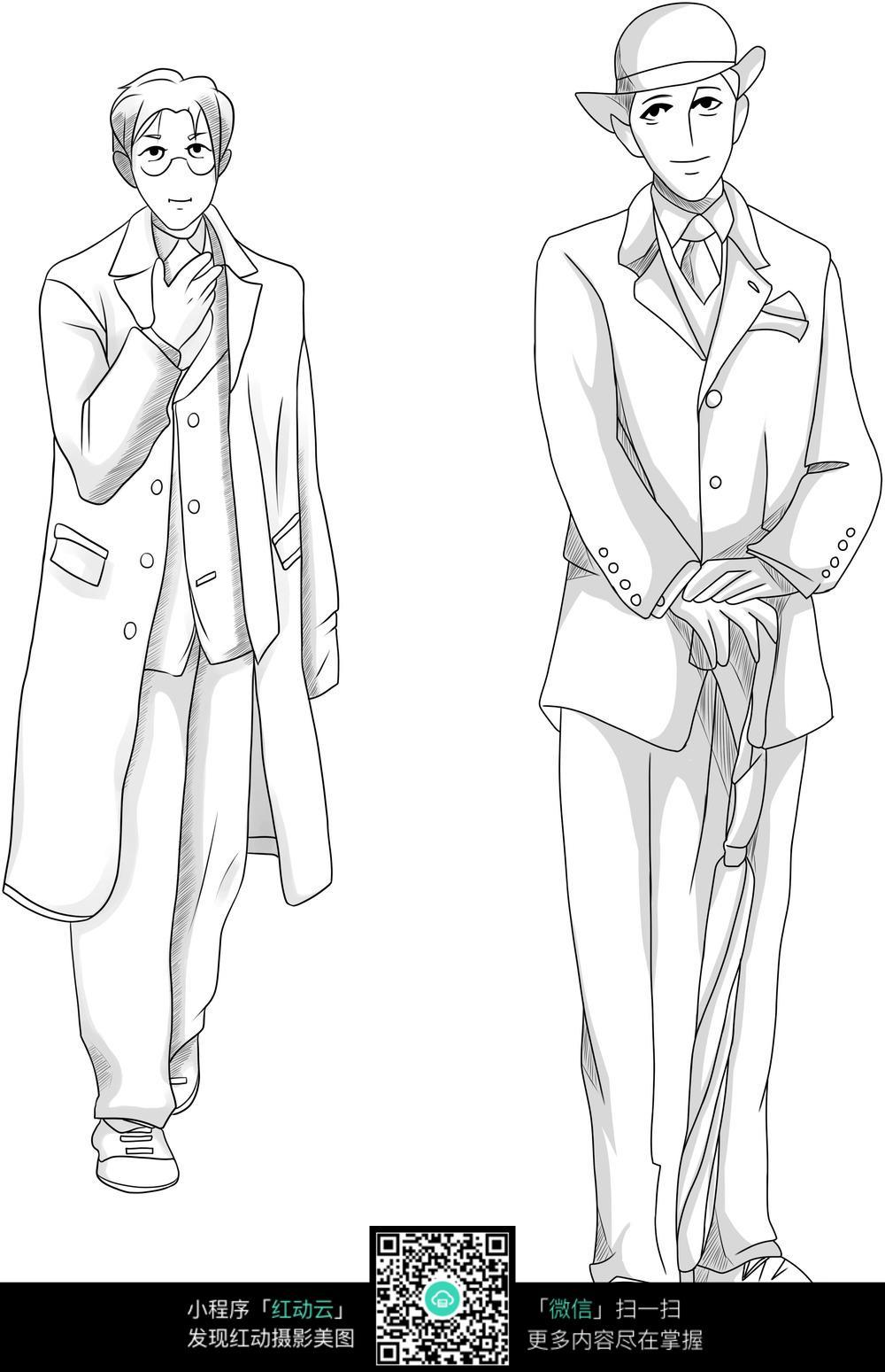 日本绅士人物手绘图图片