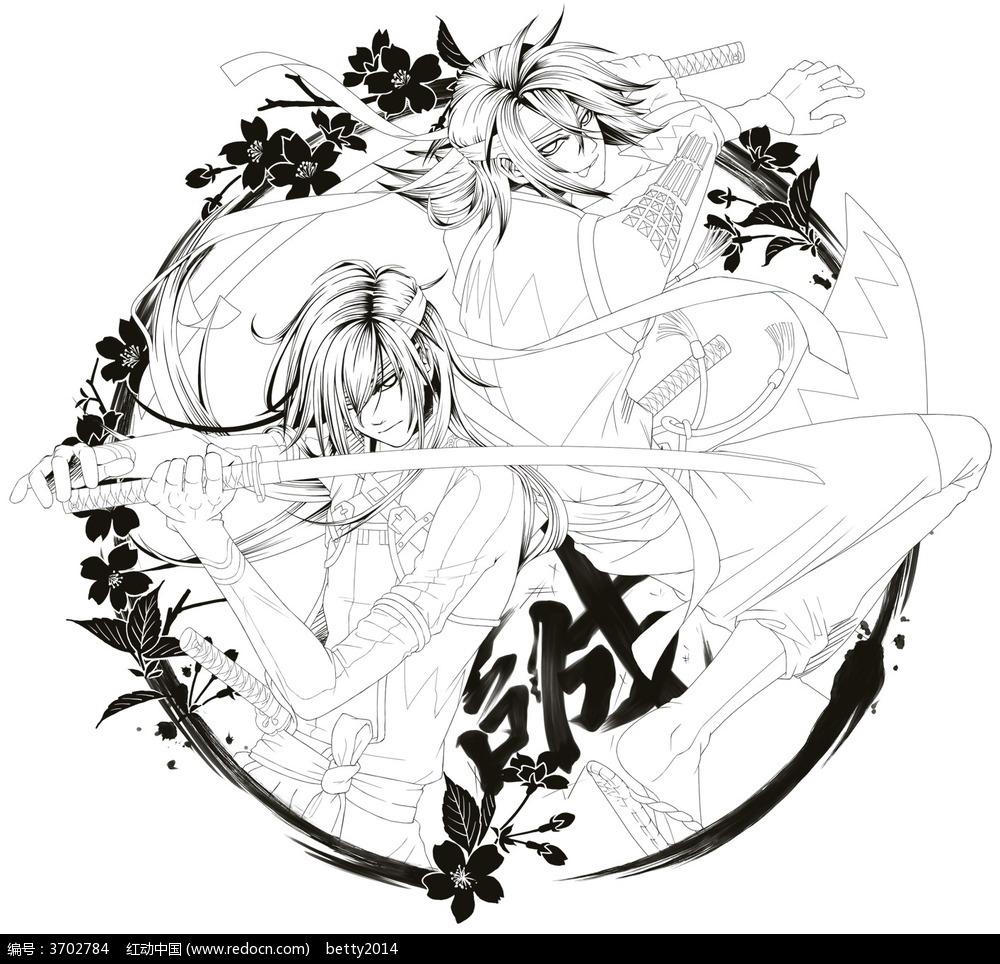 日漫武士面部手绘图_人物卡通图片_红动手机版