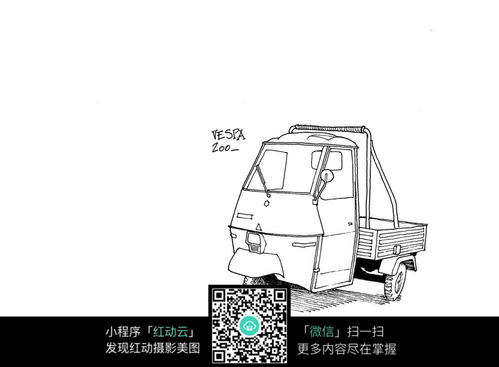 三轮车手绘线描画图片
