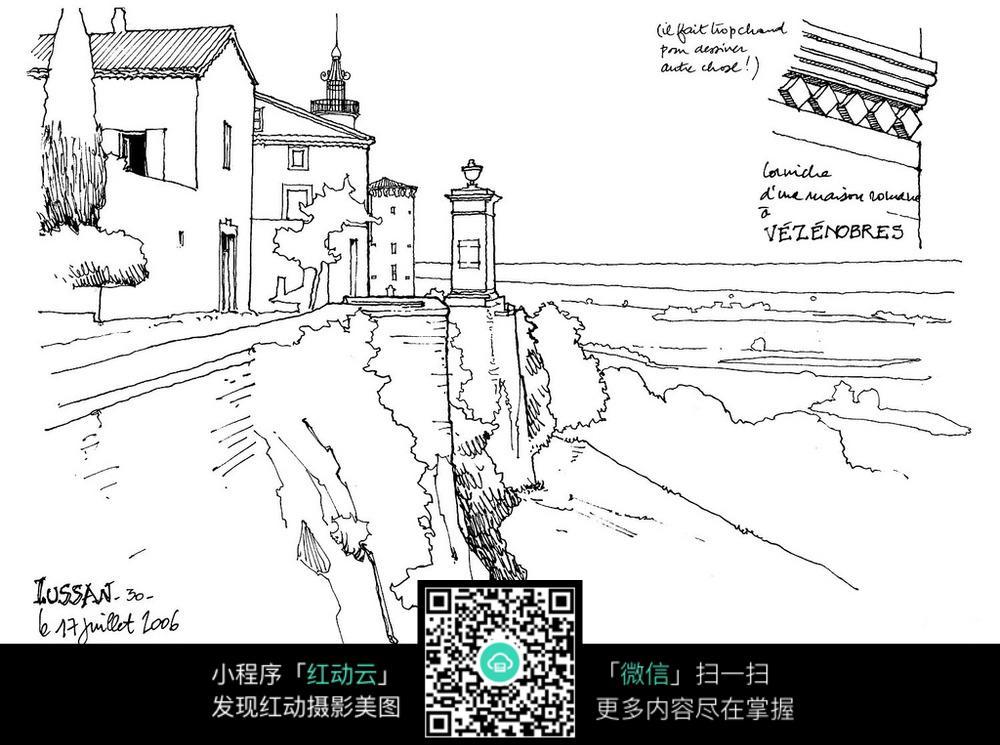 山崖边建筑手绘图
