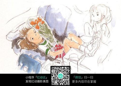 生病收到鲜花的小女孩手绘水彩线描画