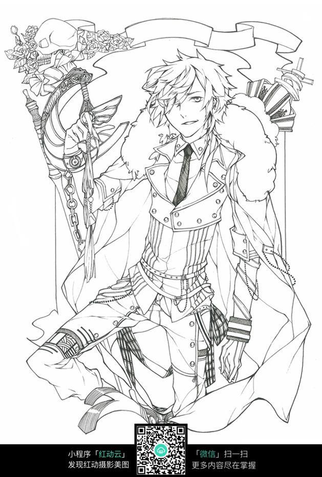 盛装美男手绘线描稿