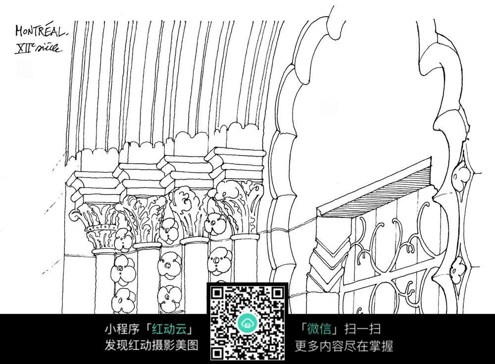 室内墙面建筑手绘图图片