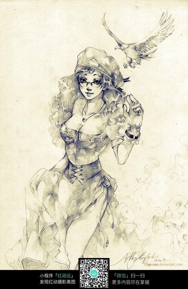时尚性感女孩手绘线描画