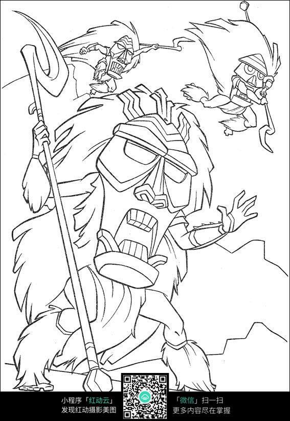 狮子大王卡通手绘线描图