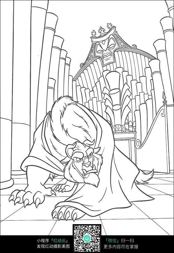 狮子佛像卡通手绘线描图