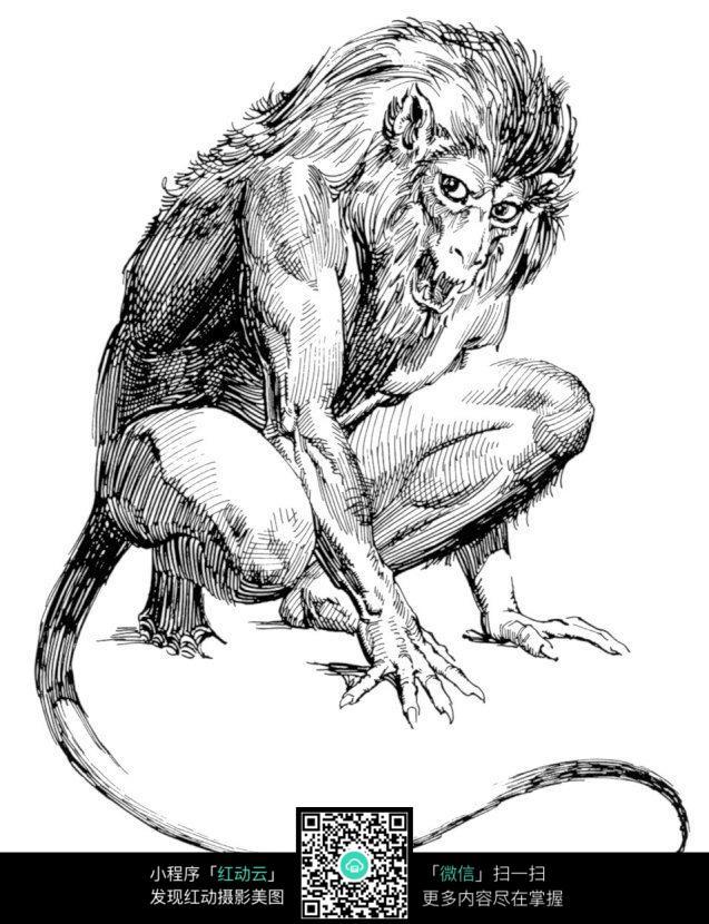狮子兽手绘素描图