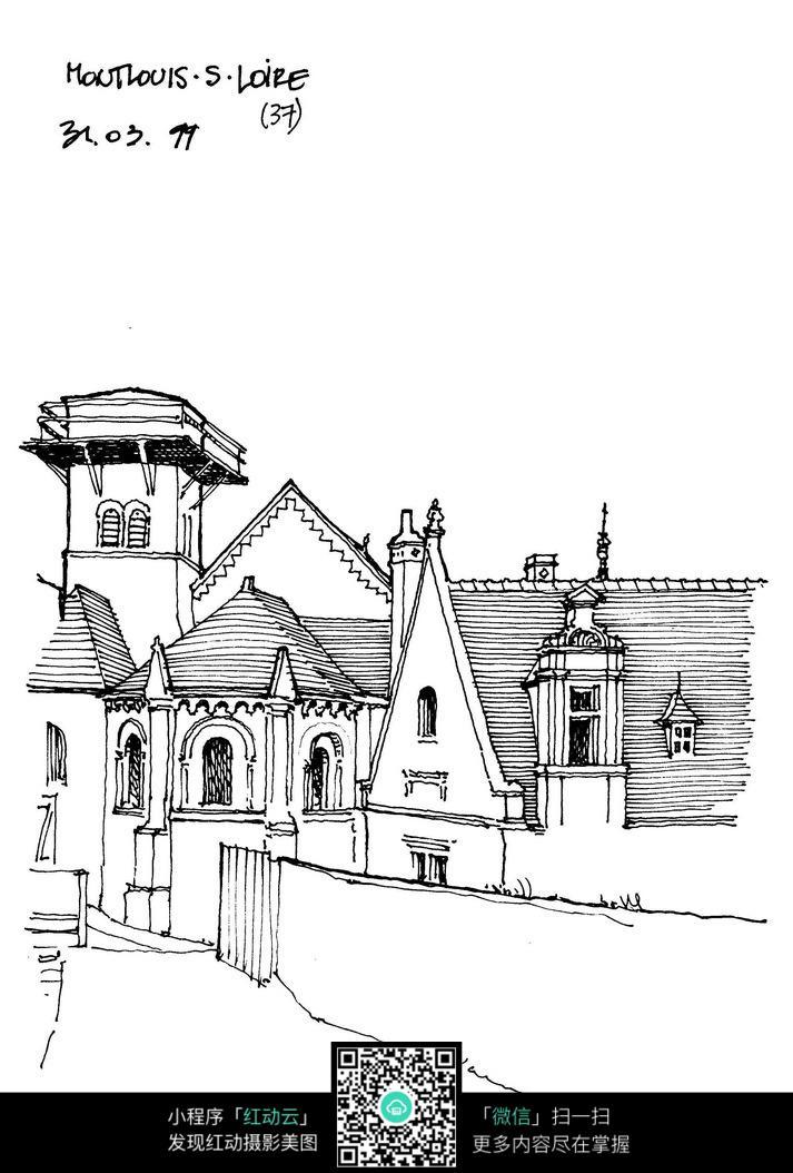 手绘国外建筑手绘图图片jpg免费下载