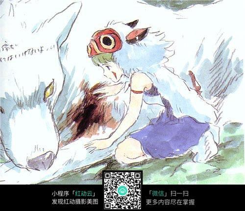 受伤的熊小女孩手绘水彩线描画