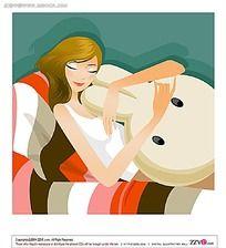 睡觉中的美女矢量素材图片