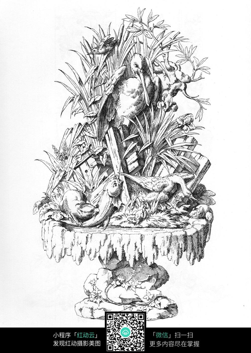 水鸟植物装饰图案素材
