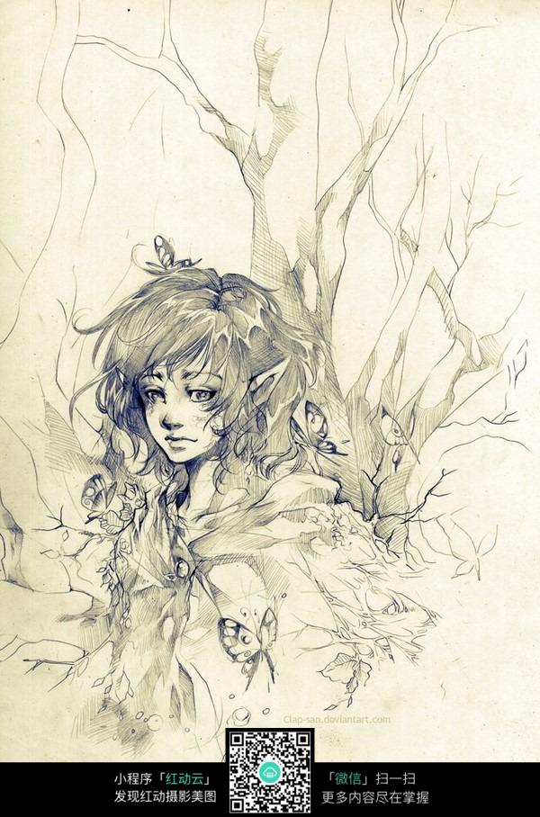 树林蝴蝶美女手绘水彩线描画