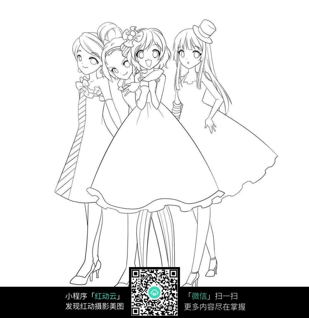 四个伴娘卡通女孩线描