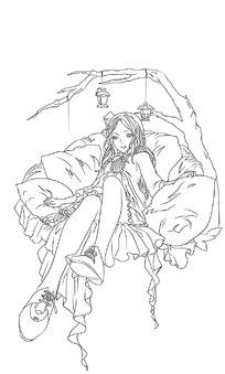 躺在吊床上的美少女手绘线稿插画