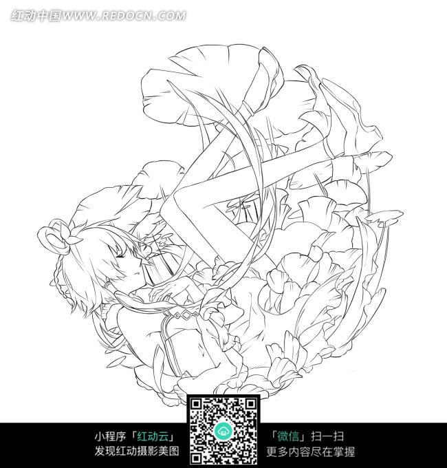手绘线稿插画图片