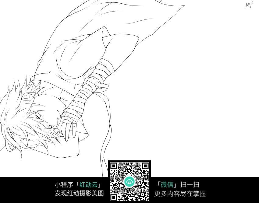 躺着的美男手绘线稿图图片