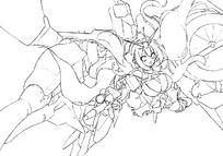 躺着的美少女手绘线稿插画