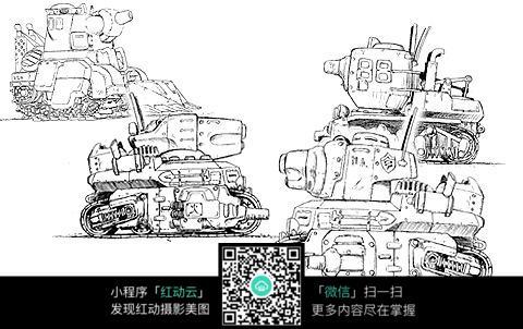 坦克战斗机手绘线描图