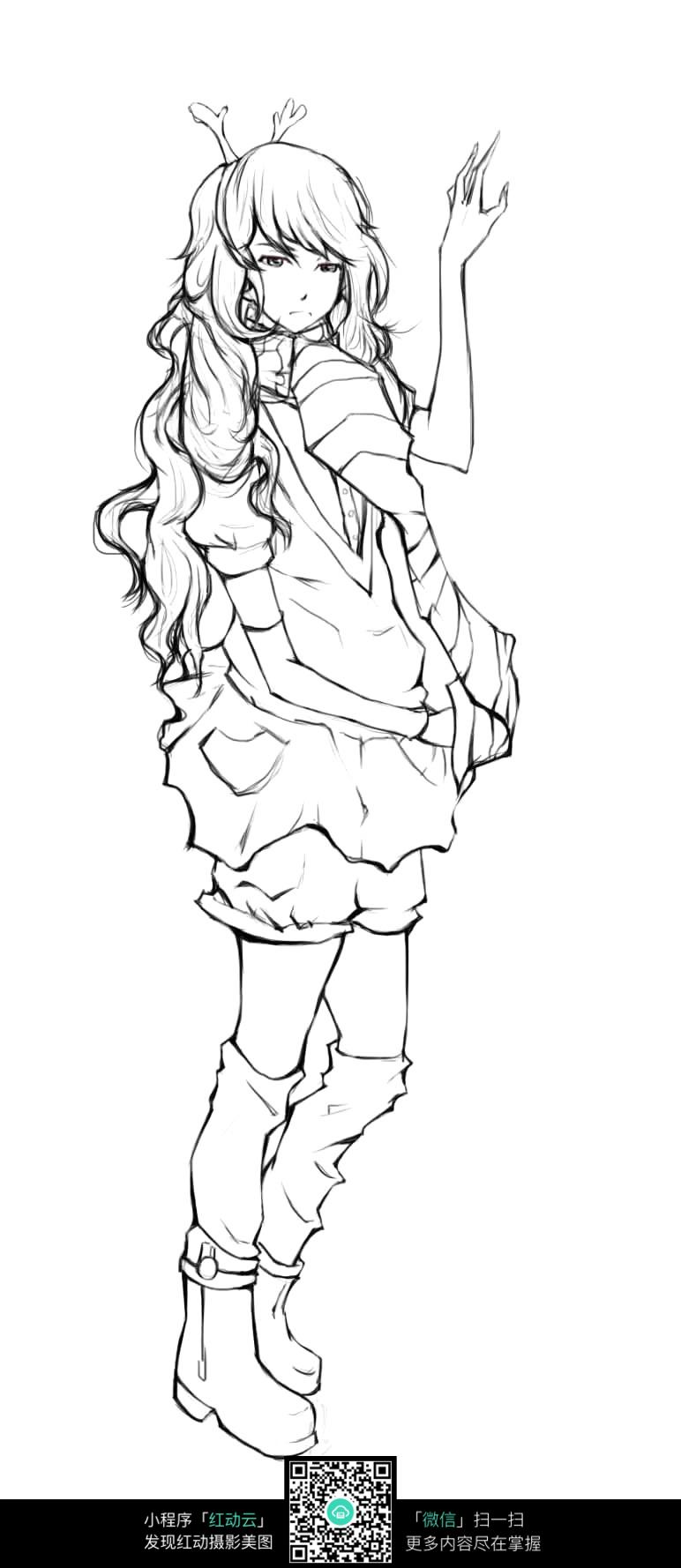 跳舞的卡通女孩