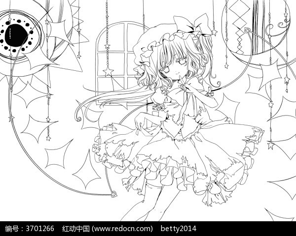 可爱的美少女线描_人物卡通图片_红动手机版