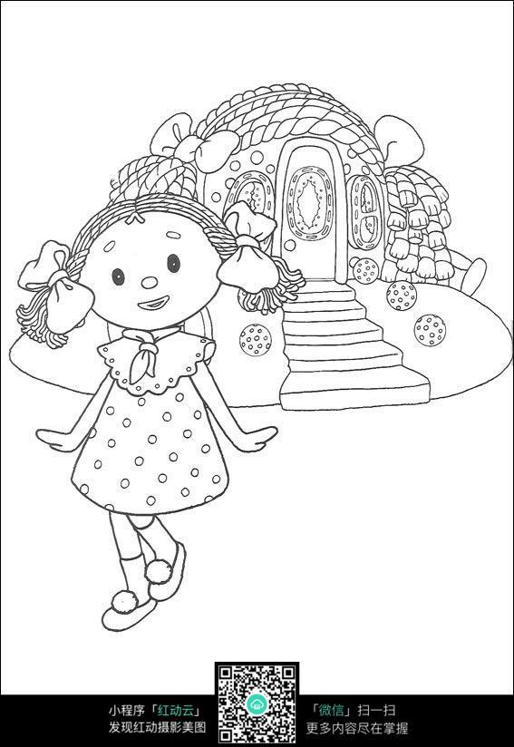 跳舞的小女孩卡通手绘线稿素材