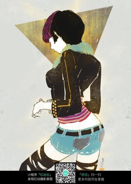 跳舞的性感美女手绘填色画