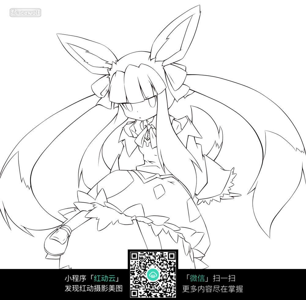 兔耳长发美少女手绘线稿图图片
