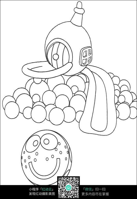 玩具小球卡通手绘线稿素材