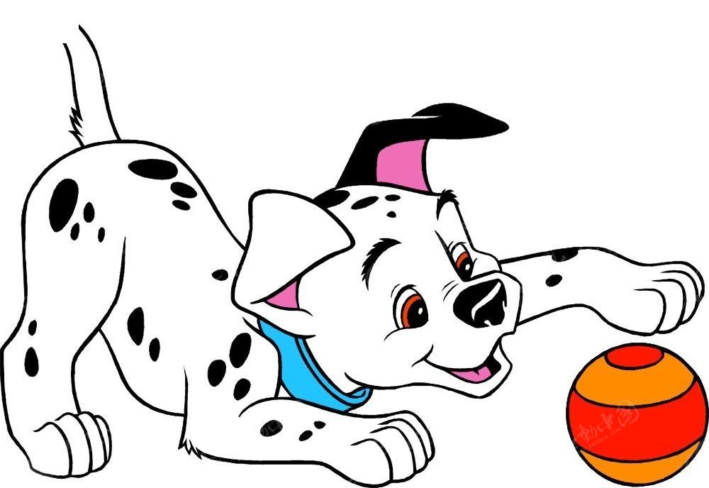 玩球的斑点狗手绘插画