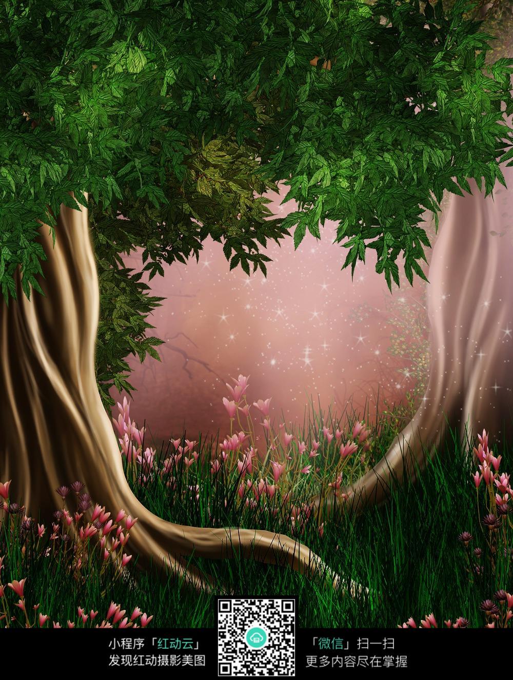 唯美花草树木背景