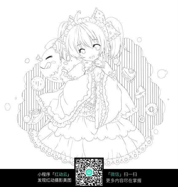 唯美可爱的小女孩线描