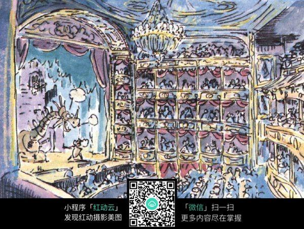 舞台剧场手绘水彩线描画