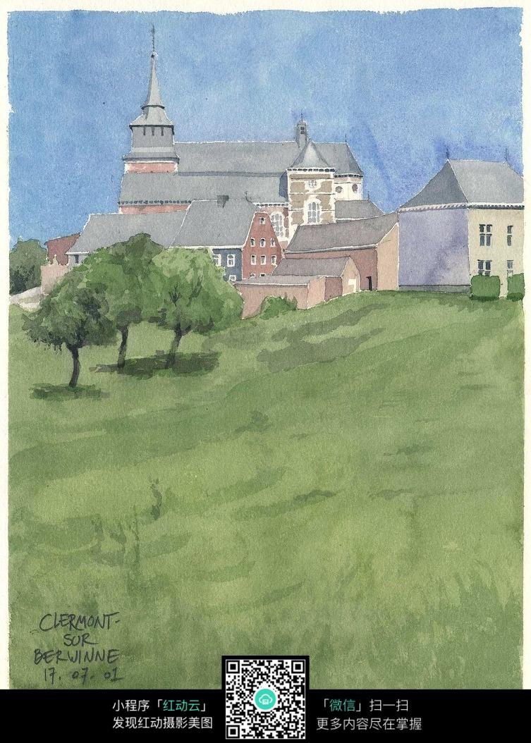 乡村别墅手绘水彩画图片