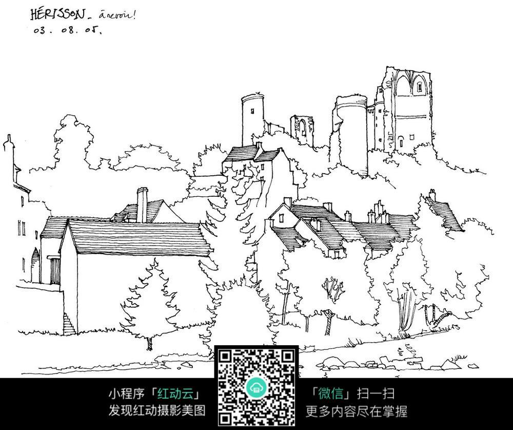乡村建筑景观手绘线描图
